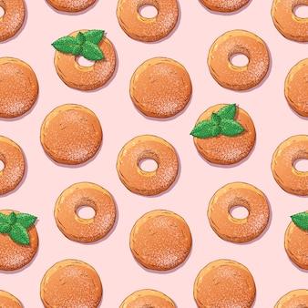 Padrão de donuts decorados com açúcar em pó e hortelã.