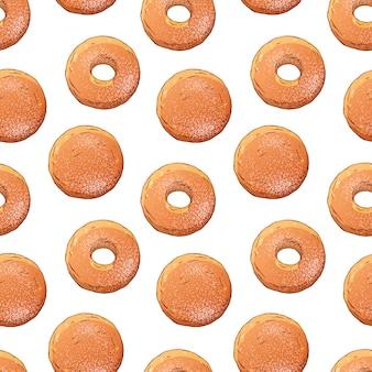 Padrão de donuts decorados com açúcar em pó.