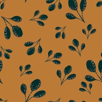 Padrão de doodle aleatório sem costura com silhuetas de folhas simples de outono. ornamento marrom em fundo laranja. ilustração das ações. desenho vetorial para têxteis, tecidos, papel de embrulho, papéis de parede.