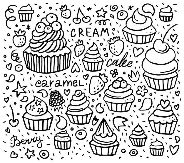 Padrão de doodle de bolinho desenhado à mão com sobremesas, frutas e letras.