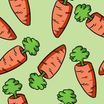 Padrão de doodle de cenoura colorido dos desenhos animados