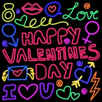 Padrão de doodle de luzes neon brilhante para as celebrações dos namorados.