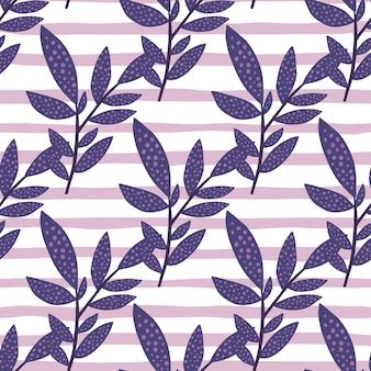 Padrão de doodle de ramo sem emenda. folhagem localizada diagonalmente na cor azul marinho sobre fundo listrado com linhas brancas e lilás.
