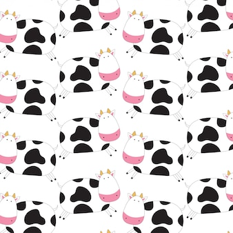 Padrão de doodle de vaca fofo