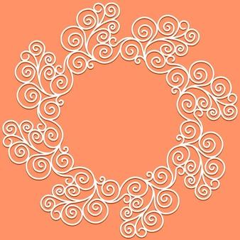Padrão de doodle de vetor branco de espirais, espirais e flores