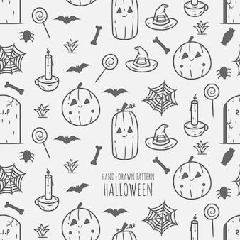 Padrão de doodle desenhado de mão de halloween