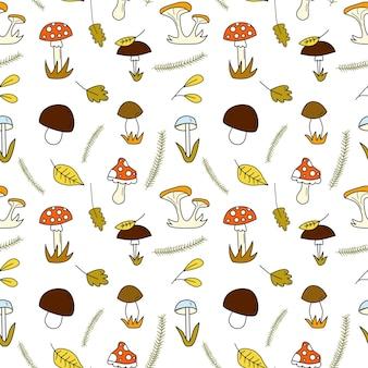 Padrão de doodle sem costura com cogumelos da floresta e folhas de outono e ilustração de abetos flatvector