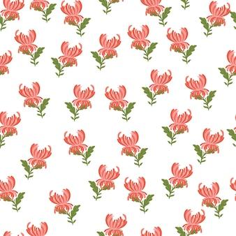 Padrão de doodle sem costura com impressão de flores de crisântemo rosa. estilo simples. pano de fundo floral isolado. ilustração sem fim. impressão plana de vetor para têxteis, tecidos, papel de embrulho, papéis de parede.