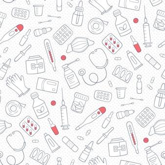 Padrão de doodle sem costura com medicamentos, drogas, pílulas, garrafas e elementos médicos de cuidados de saúde. ilustração em vetor desenhada à mão