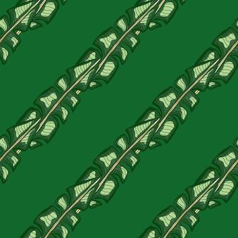 Padrão de doodle sem costura diagonal folha de bananeira ornamento. cores verdes. cenário tropical de estilo geométrico.