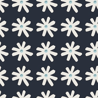 Padrão de doodle sem costura escuro com silhuetas geométricas de margarida branca. impressão simples estilizada. perfeito para papel de parede, papel de embrulho, impressão têxtil, tecido. ilustração.