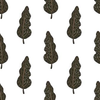 Padrão de doodle sem costura isolado com mão desenhada árvores escuras marrons. fundo branco.