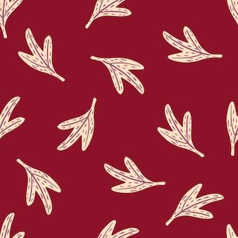 Padrão de doodle sem costura minimalista com formas de folhas brancas.