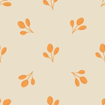 Padrão de doodle sem costura minimalista com ornamento de folhas amarelas escandinavas. plano de fundo cinza claro. ilustração das ações. desenho vetorial para têxteis, tecidos, papel de embrulho, papéis de parede.