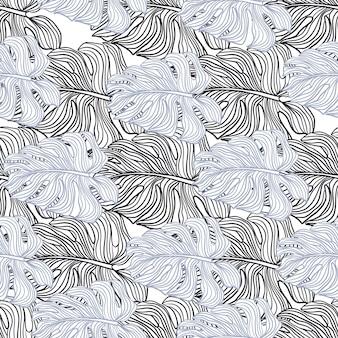 Padrão de doodle sem emenda de elementos de monstera de contorno azul e roxo. impressão isolada. estilo simples. cenário decorativo para desenho de tecido, impressão têxtil, embalagem, capa. ilustração vetorial.