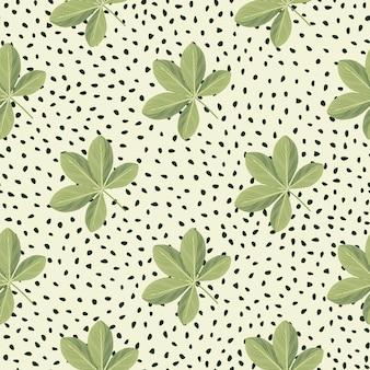 Padrão de doodle sem emenda de flores scheffler coloridas de verde