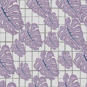 Padrão de doodle sem emenda de folha aleatória roxa palm monstera. fundo cinza quadriculado. cenário decorativo para desenho de tecido, impressão têxtil, embalagem, capa. ilustração vetorial.