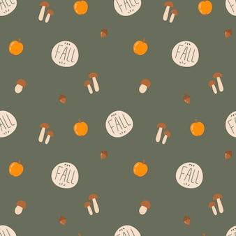 Padrão de doodle sem emenda de ilustração vetorial. decoração de fundo no tema outono. legumes, cogumelos e bolotas.