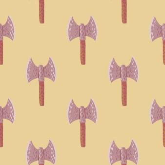 Padrão de doodle sem emenda de machado de viking.