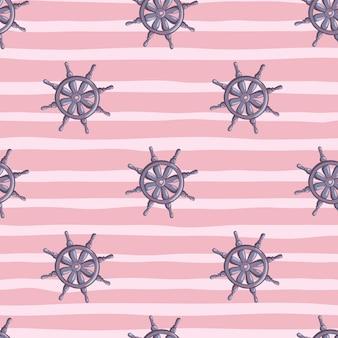 Padrão de doodle sem emenda do ornamento do leme do navio azul marinho. fundo rosa listrado. pano de fundo do oceano de viagens.