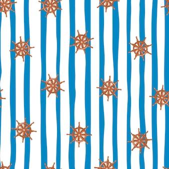 Padrão de doodle sem emenda laranja navio aleatório roda silhuetas. fundo listrado azul e branco. projetado para design de tecido, impressão têxtil, embalagem, capa. ilustração vetorial.