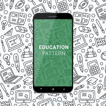 Padrão de educação móvel de mão desenhada