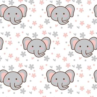 Padrão de elefante fofo com flor