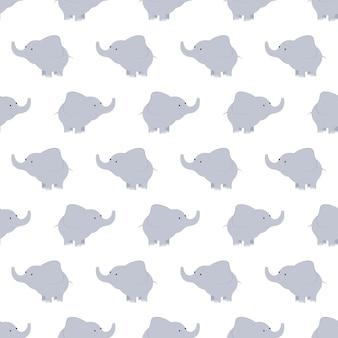 Padrão de elefantes azuis e cinza. fundo com elefantes. padrão das crianças. antecedentes de elefantes fofos. Vetor Premium