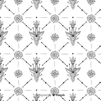 Padrão de elemento floral desenhado de mão