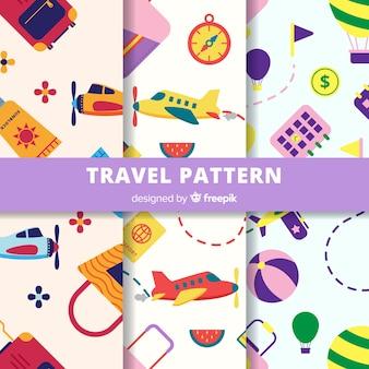 Padrão de elementos coloridos de viagens