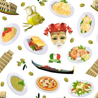 Padrão de elementos de cozinha italiana dos desenhos animados ou ilustração de fundo. cozinha italiana e arquitetura pisa, torre