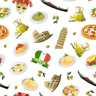 Padrão de elementos de cozinha italiana dos desenhos animados ou ilustração de fundo. refeição e comida tradicional