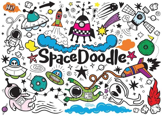 Padrão de elementos de espaço desenhado de mão
