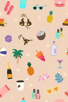 Padrão de elementos de férias de verão bonito