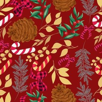 Padrão de elementos de natal lindos desenhados à mão
