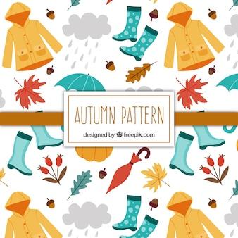 Padrão de elementos de outono desenhados à mão e acessórios