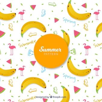 Padrão de elementos de verão com elementos de praia