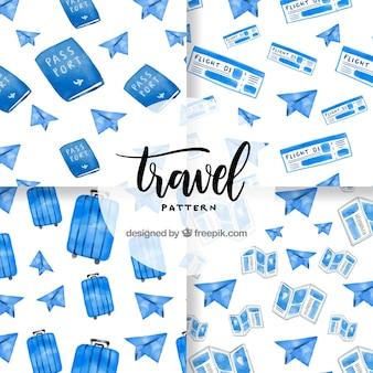 Padrão de elementos de viagem aquarela azul