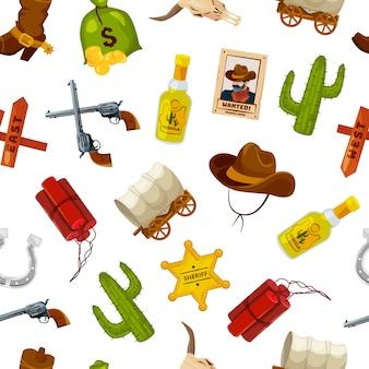 Padrão de elementos do oeste selvagem dos desenhos animados ou ilustração