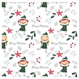 Padrão de elementos elf e natal