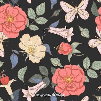 Padrão de elementos florais vintage