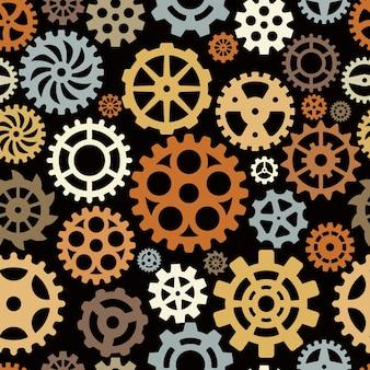 Padrão de engrenagens. o círculo técnico de forma redonda molda o fundo sem emenda do vetor mecânico. padrão sem emenda de engrenagem, ilustração de repetição de roda dentada