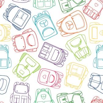 Padrão de escola com mochilas de contorno colorido