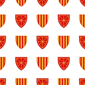 Padrão de escudo repetir padrão sem emenda. padrão heráldico medieval real com arma para têxteis, álbum de recortes, cartazes, livros. ilustração vetorial