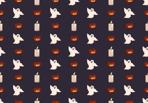 Padrão de escuro brilhante com fantasmas de abóboras e vela decoração festiva de outono para o feriado de halloween ...