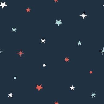 Padrão de escuro sem costura minimalista de inverno. flocos de neve em um fundo azul. ilustração vetorial.