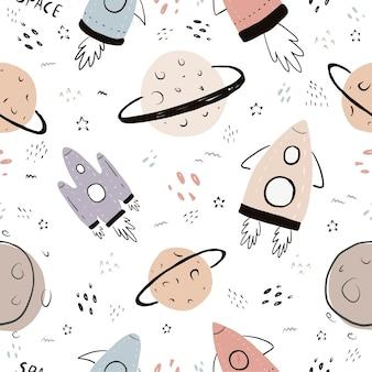 Padrão de espaço desenhado à mão sem costura fofa com estrela de foguete cometa nave espacial planetas galáxia