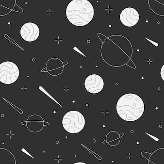 Padrão de espaço retro sem costura preto e branco com planetas, estrelas, cometas, tema, espaço