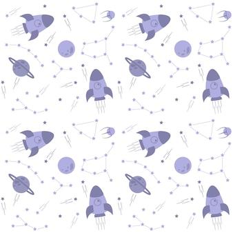 Padrão de espaço sideral com estrelas, foguetes, planetas e constelações