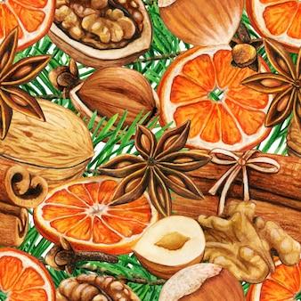 Padrão de especiarias de inverno em aquarela